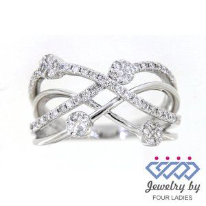 Real Diamond Twisted Style Antique Ring White Gold